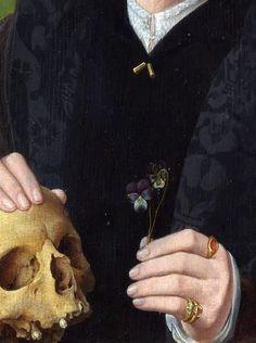 "Jan van Scorel: ""A Man with a Pansy and a Skull (detail)"". Rennaissance Art, Still Life Photos, Anne Boleyn, Hand Art, Vanitas, Classical Art, Aesthetic Art, Pansies, Art Inspo"