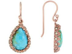 Timna Jewelry Collection(Tm) Cabochon Turquoise With Marcasite Accent Copper Teardrop Earrings