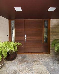Horizontal grain redwood entry door