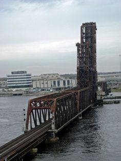 Railroad track across St John's River in downtown Jacksonville, FL