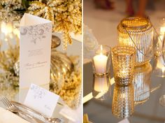 Menu and gorgeous silver candle votive. Wedding reception styling, ideas and inspiration. Wedding Reception at The State Reception Centre Kings Park, Perth Western Australia