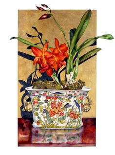 Gallery Orchids with lovely planter/ceramic or porcelain. Colorful Paintings, Beautiful Paintings, Watercolor Flowers, Watercolor Paintings, Still Life Flowers, Still Life Art, Botanical Prints, Flower Art, Illustration Art