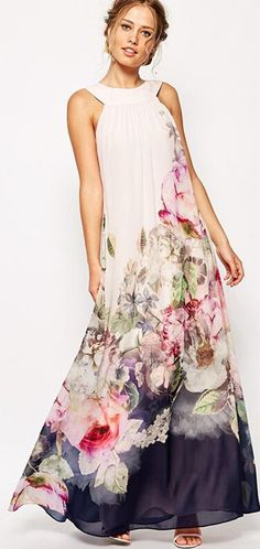Touch Me, Feel Me Natural Print Maxi Dress
