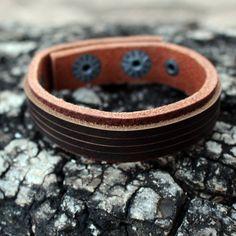 Bracelete Slin em Couro Natural marrom