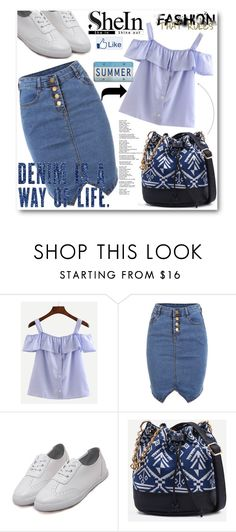 """""""SHEIN-BLUE STRAPS VERTICAL STRIPED RUFFLE SHIRT"""" by purplerose27 ❤ liked on Polyvore"""