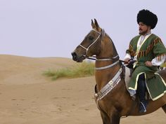 Akhal-Teke horse is the unique cultural heritage of the Turkmen people. Turkmenistan, Central Asia.