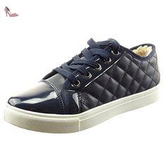 Sopily - Chaussure Mode Baskets Cheville femmes Matelassé verni Talon bloc 2.5 CM - Intérieur fourrure synthétique - fourrée - Bleu - CAT-5-BS005 T 40 - Chaussures sopily (*Partner-Link)