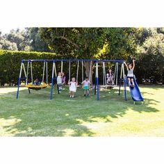 Metal Swing Set Outdoor Play Kids Fun Outdoor Play Kid Backyard Slide Playground #SportspowerSuper8