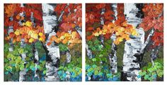 """""""Together We Stand I and II"""" (Diptych) 12""""×12"""" Contemporary Abstract Landscape Artist Melissa McKinnon features BIG COLOURFUL PAINTINGS of Aspen & Birch Trees, Rocky Mountains and stunning views of the Canadian prairies, big skies and ocean beaches. Be the first to hear about NEW PAINTINGS, works in progress and news from my studio, Sign Up For MyMonthly EMAIL NEWSLETTER: http://eepurl.com/rqj-L  Website & Blog: www.melissamckinnon.wordpress.com"""