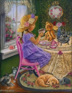 """Tea Party With Teddy,"" ~ Tricia Reilly-Matthews Happy Birthday Little Girl, Tee Kunst, Tea Art, Vintage Cards, Retro, Vintage Children, Pretty Pictures, Rose Pictures, Diy Painting"