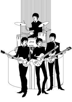 The Beatles - Artem Bizyaev The Beatles 1, Beatles Art, Beatles Songs, Ringo Starr, George Harrison, John Lennon, Stuart Sutcliffe, Star Illustration, The Fab Four
