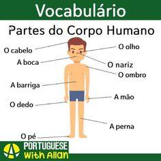 "Portuguese with Allan's Instagram post: ""👉Algumas partes do corpo humano em português🇧🇷  👉@portuguesewithallan🙏 …"" Learn Brazilian Portuguese, Portuguese Lessons, Learning, Instagram Posts, Hair, Human Body Parts, Activities, School, Portuguese"