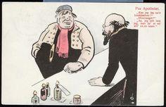 """VITSEKORT. """"Paa Apotheket"""". (Tegnet av Gustav Lærum / JF humor 4) sendt fra Kirkenær 1910"""