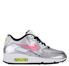 Nike Kids Air Max 90 FB Grade School - Metallic Silver Hyper Pink White Black