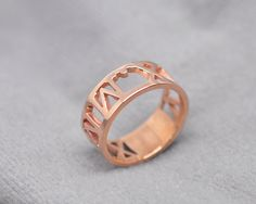 Rose Gold Roman Numberal Ring Hollow Cut Out by weimeiOrnaments