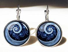 Blue Spiral Big Earrings,Unique Gift, Photo Jewelry Earrings