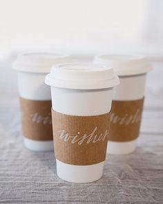 Winter wedding ideas! Coffee sleeve calligraphy.