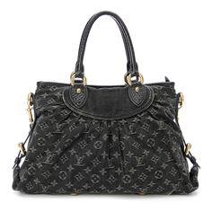 Louis Vuitton Black Monogram Denim Neo Cabby MM Handbag - $999.99