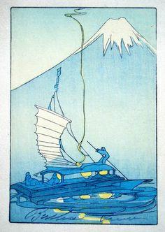 Woodblock prints (Estampes) :: Fuji Moutain and Sailboat