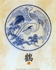 traditional chinese crane print