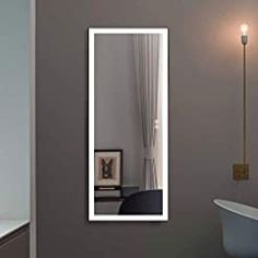 Decoraport LED Full Length Mirror, Large Dressing Mirror with Touch Button, 48 x 20 Inch, Black Frame, Dimmable, Plug-in… Lighted Wall Mirror, Mirror With Lights, Wall Mirrors, Dressing Mirror, White Mirror, Super White, Floor Mirror, Frame Sizes, Wall Mount