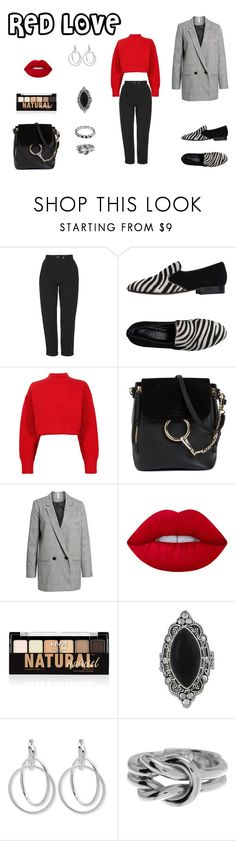 """red love"" by d-rose0181 on Polyvore featuring Topshop, C.B. Made in Italy, 3.1 Phillip Lim, Chloé, Mural, Lime Crime, NYX, NOVICA, Nine West and Gucci"