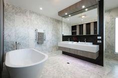 wisdom homes manhattan 43 ensuite - caesarstone marble bathroom Bathroom Inspiration, Interior Design Inspiration, Design Ideas, Ideal Bathrooms, Custom Bathrooms, Build Your Own House, Bathtub Remodel, Bathroom Images, Bathroom Ideas