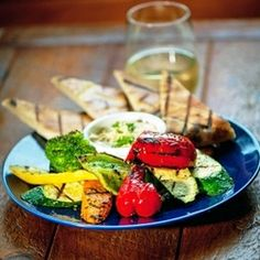 Grilled Veggis with Hummus at Wild Tomato Wood Fired Pizza and Grille--Door County Dining.