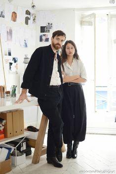 Sarah Linh Tran and Christophe Lemaire at studio