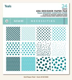 My Mind's Eye - Necessities Collection - Teals - 6 x 6 Paper Pad at Scrapbook.com