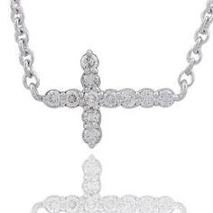 #Malakan #Jewelry - Platinum-Silver Diamond Cross Pendant 77802A #Cross #Crosses #Religion