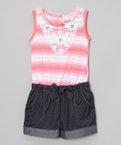 Look what I found on #zulily! Pink & White Stripe Romper - Infant, Toddler & Girls by Little Lass #zulilyfinds