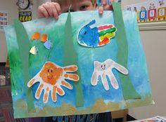 Ocean theme: under the sea handprint art