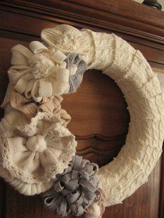 Sweater...flowers in a Wreath! TUTORIAL