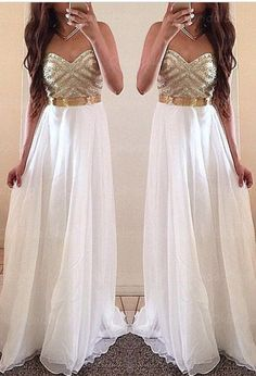 Elegant long Sexy chiffon Prom Dress,a-line strapless Prom Dress ,white Prom Dress