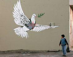 graffiti kunst bethlehem weiße taube