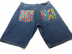 COOGI Jean Shorts Men's 38x15 Urban Culture Hip Hop Denim Embroidered Colorful #COOGI #Denim