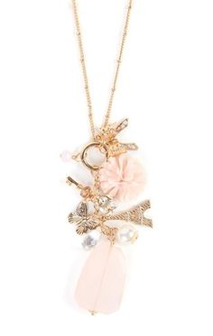 Deb Shops Long Necklace with Eiffel Tower and Flower Charms $7.50