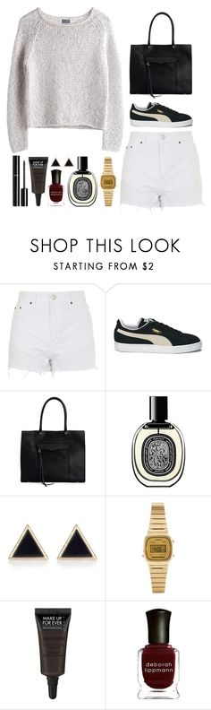 """""""Number 221"""" by charlene-ndy ❤ liked on Polyvore featuring Topshop, MTWTFSS Weekday, Puma, Rebecca Minkoff, Chanel, Diptyque, River Island, Casio, MAKE UP FOR EVER and Deborah Lippmann"""