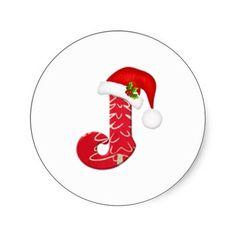 Monogram letter J, Santa hat Christmas  Sticker
