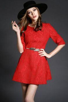 Grace Lace Slim Pure Color Dress LAVELIQ