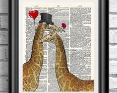 Giraffen in de liefde, woordenboek kunst afdrukken, oude boek pagina wand decor op mixed media antieke woordenboek boekenpagina. Muur kunst dieren dandy giraffe