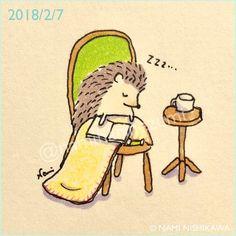1405 読書2 Reading 2 はりこは本読むと必ず寝ます #illustration #hedgehog #イラスト #ハリネズミ #なみはりねずみ