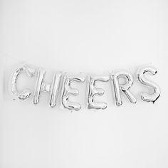 "Hippenings Northstar CHEERS 16"" foil balloon Kit - Silver"