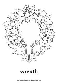 Christmas wreath colouring page as well as many other coloring sheets and worksheets that could be printed out and used as free time activities when work is done.