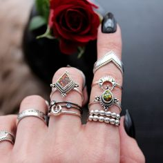 ✧♆✧ Dark stacks for dark witches ✧♆✧ Shop ⇢⇢ www.shopdixi.com // shop dixi // boho // bohemian // gothic // grunge // witchy // witchy // boho jewels // boho chic // bohemian jewellery // bohemian jewelry // silver rings // sterling silver // gypsy jewels // rings // stacking rings // moon child // dark // mystic