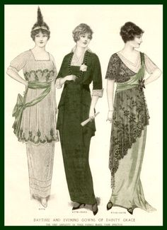 1914 daytime and evening dresses