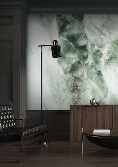 Wall mural Marble, Green, x 280 cm - KEK Amsterdam Marble House, Marble Wall, Marble Print, Marble Interior, Wall Design, House Design, Green Marble, Burke Decor, Photo Wallpaper