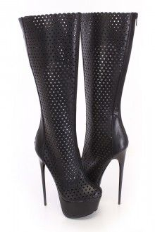 Black Perforated Platform Boots Faux Leather