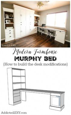 The best DIY projects & DIY ideas and tutorials: sewing, paper craft, DIY. DIY Furniture Plans & Tutorials : This tutorial and free plans show you step by step how to add a desk onto the deluxe queen size Murphy Bed plans from Murphy Bed Desk, Murphy Bed Plans, Diy Murphy Bed, Queen Murphy Bed, Office With Murphy Bed, Office With Bed, Farmhouse Murphy Beds, Modern Farmhouse, Furniture Plans